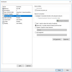 vmware hardware settings